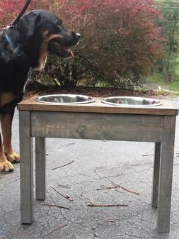 15 inch high HANDCRAFTED Wooden Elevated dog feeders