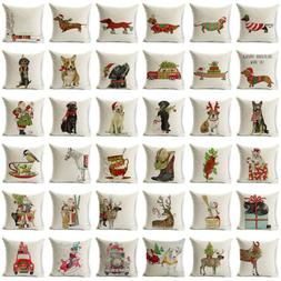 "18"" Xmas Dog Cotton Linen Pillow Case Sofa Cushion Cover Thr"