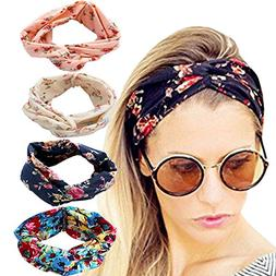 DRESHOW 4 Pack 1950's Vintage Flower Headbands for Women Twi