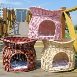 2 TIER WICKER CAT BED BASKET PET POD HOUSE SLEEPING CUSHIONS