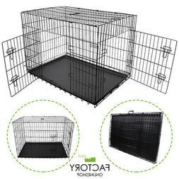 Folding Portable Dog Crate Pet Cage Kennel Pen 2-Doors