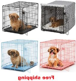 "24"" Pet Dog Cat Crate Kennel Cage Bed pan Folding Metal Play"