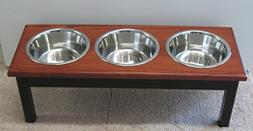 Classic Pet Beds 3-Bowl Traditional Style Ash Pet Diner, Lar