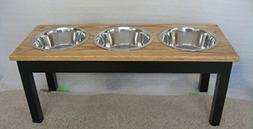 Classic Pet Beds 3-Bowl Traditional Style Ash Pet Diner, Lar