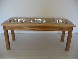 3 Bowl Traditional Style Pet Diner Size: Large , Finish: Med
