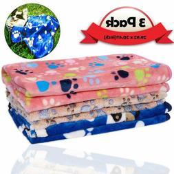 3 Pack Warm Fleece Puppy Dog Cat Blanket Pet Mat Blanket for