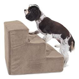 3 Step Stone Tan Suede Pet Stairs By Majestic Pet Products i