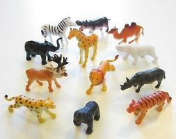 "3 NEW ZOO ANIMALS 2"" TOY PLAYSET WILD JUNGLE GORILLA ZEBRA T"