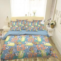 3D Football Dog 26 Bed Pillowcases Quilt Duvet Single Queen
