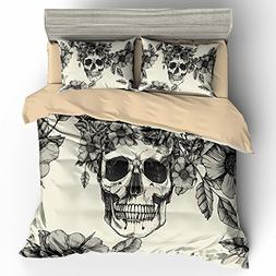BOMCOM 3D Digital Printing Hand Drawn Skull and Dog Roses Lo