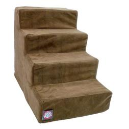 4 Step Chocolate Brown Suede Pet Stairs By Majestic Pet Prod