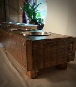 5 inch high HANDCRAFTED Wooden Elevated dog/cat feeders Xsm-