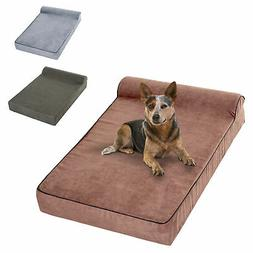 Large Memory Foam Dog Bed Pet Cot Waterproof Liner Suede Cov