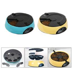 6 Meal Timed Automatic Pet Feeder Auto Dog Cat Food Bowl Dis