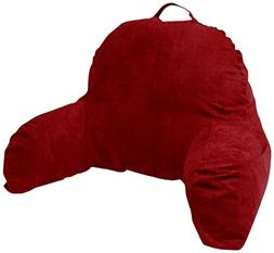 Deluxe Comfort Red Microsuede Bed Rest Reading Pillow & Supp