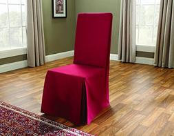 Sure Fit Cotton Duck Long Dining Room Chair Slipcover Claret