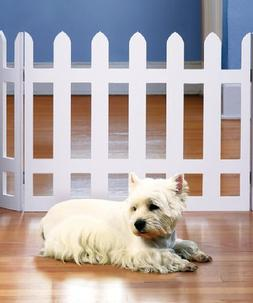 White Picket Fence Folding Pet Gate