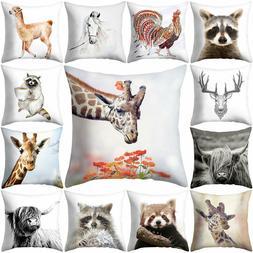 AD_ Dog Elephant Animal Pillow Case Cushion Cover Art Sofa B