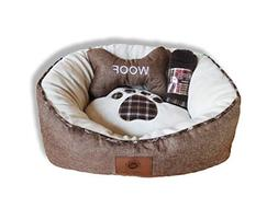 akc burlap round pet bed