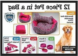 Allison Fuchsia Set gift Dog Bed pillow, blanket bowls scoop