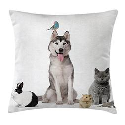 Animal Throw Pillow Cushion Cover by Ambesonne, Group of Pet