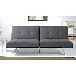 Aspen Grey Fabric Foldable Futon Sleeper Sofa Bed