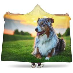 Australian Shepherd Dogs Custom Large Hooded Blanket Pets An