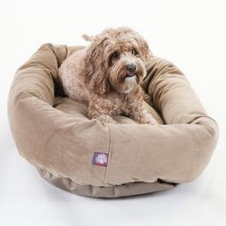 "Majestic Pet Medium 32"" Bagel Dog Pet Bed MicroSuede - Stone"