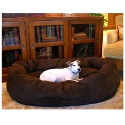 bagel dog pet bed suede