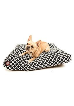 Black Bamboo Medium Rectangle Indoor Outdoor Pet Dog Bed Wit