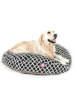 Black Bamboo Large Round Indoor Outdoor Pet Dog Bed With Rem