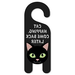 Black Cat Do Not Disturb Plastic Door Knob Hanger Sign - Cat