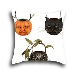 Oshiley Black Cats Halloween 100% Cotton Pillow Cover With Z
