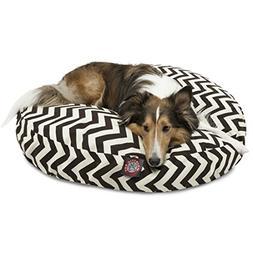 Black Chevron Medium Round Indoor Outdoor Pet Dog Bed With R