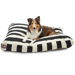 Black Vertical Stripe Large Rectangle Pet Bed