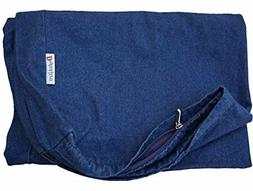 Dogbed4less 40X35X4 Inches Blue Color Durable Denim Jean Dog