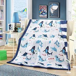J-pinno Blue Shark Printed Thin 100% Cotton Quilt Comforter