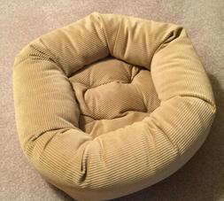 "Snoozer Bolster Round 22"" Dog Bed - Tan/Gold Corduroy - Su"