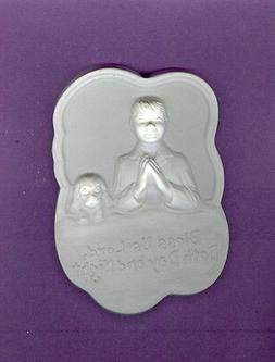 Boy & dog bed prayer plaque plaster of paris painting projec