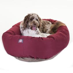 52 inch Burgundy & Sherpa Bagel Dog Bed By Majestic Pet Prod