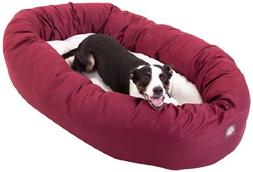 40 inch Burgundy & Sherpa Bagel Dog Bed By Majestic Pet Prod