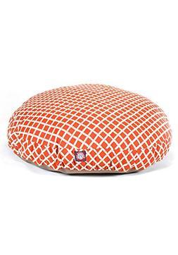 Burnt Orange Bamboo Small Round Indoor Outdoor Pet Dog Bed W