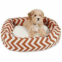 24 inch Burnt Orange Chevron Sherpa Bagel Dog Bed