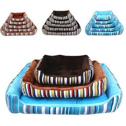 Canvas Stripe Pet Bed Cushion Dog Cat Warm Soft Mat Soft Pad