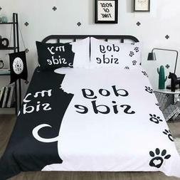Cartoon Bedding Set  Duvet Cover Set Dog Side and My Side