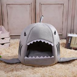 DV_ Cartoon Shark Pet Cat Dog Winter Warm Sleeping Bed House