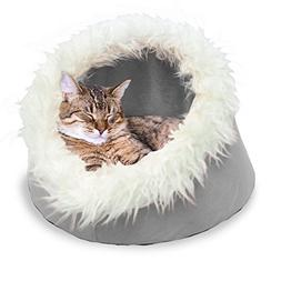 "Furhaven Pet Cat Cave, Tarnished Silver, 18"" BASE"