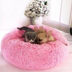 Cat Dog Warm Plush Bed Round Calming Soft Fur Donut Cuddler