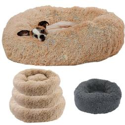 Cat Dog Warm Plush Bed Round Calming Soft Fur Donut Cuddler