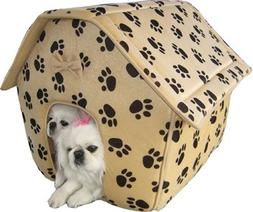 Cats Dogs Pet Cozy Collapsible Pets Paw Prints House